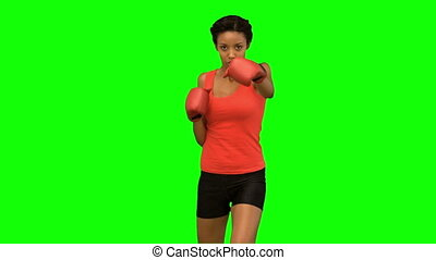 Attractive woman boxing on green sc