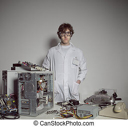 Computer technician - Portrait of a Computer technician with...