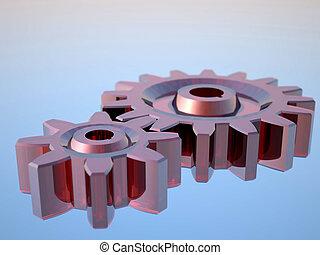 Glass gears - 3D rendering of glass gears