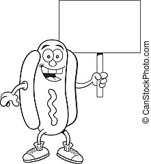 Cartoon hotdog holding a sign - Black and white illustration...