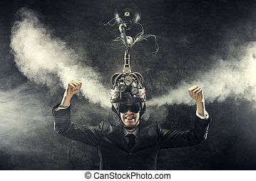 Business success - Man wearing a brain-control helmet,...