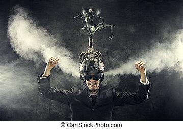 Business success - Man wearing a brain-control helmet,...