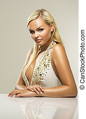 Beautiful glamorous blond woman - Beautiful glamorous busty...