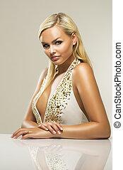 Beautiful glamorous blond woman - Beautiful glamorous busty...