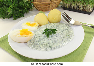 Frankfurt green sauce with halved boiled eggs