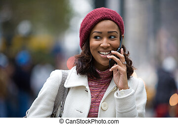 Woman On Her Cell Phone - An attractive business woman talks...