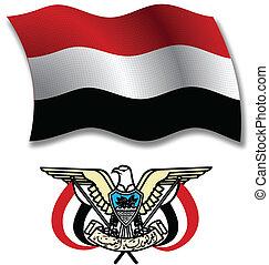 yemen textured wavy flag vector