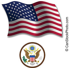 united states textured wavy flag vector
