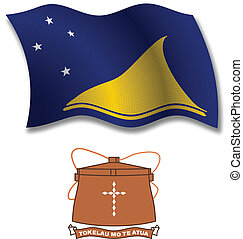 tokelau textured wavy flag vector - tokelau shadowed...