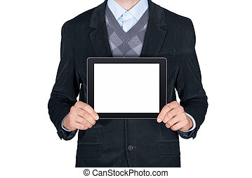 Person showing blank digital tablet - Young man in black...