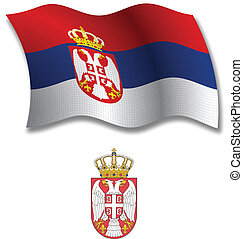 serbia textured wavy flag vector - serbia shadowed textured...