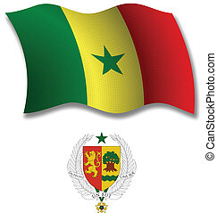 senegal textured wavy flag vector - senegal shadowed...