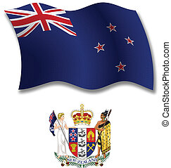 new zealand textured wavy flag vector - new zealand shadowed...