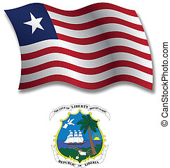 liberia textured wavy flag vector - liberia shadowed...