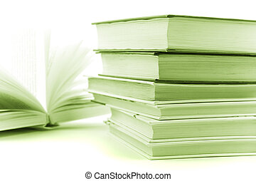 stack of books closeup. monochrome image