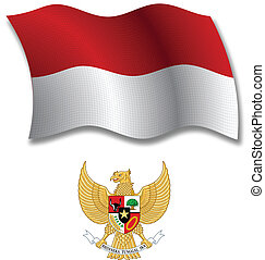 indonesia textured wavy flag vector