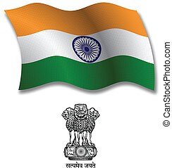 india textured wavy flag vector - india shadowed textured...