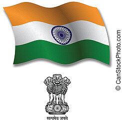 india textured wavy flag vector - india shadowed textured...
