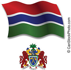 gambia textured wavy flag vector - gambia shadowed textured...