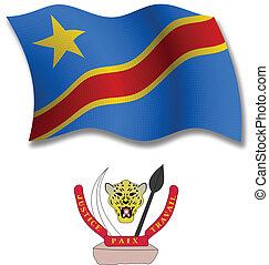 congo textured wavy flag vector - democratic republic of the...