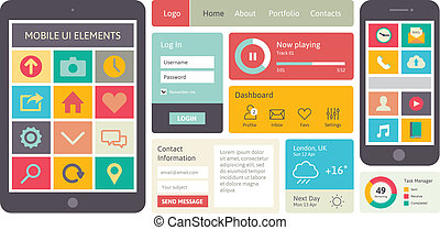Mobile UI vector elements - Modern UI flat design vector kit...