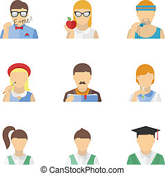 Students and teachers characters set - Vector collection of...