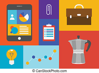 Office colorful objects - Flat design vector illustration...