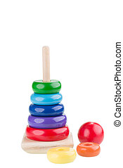 Pyramid stacking rings toy close-up