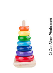 Pyramid stacking rings toy over white background