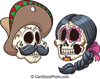 Mexican Skulls - Cartoon mexican skulls Vector clip art with...