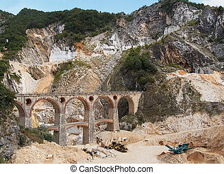 Ponti di vara bridges - Carrara marble quarries, Italy -...