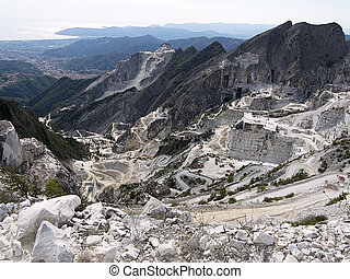 Carrara marble quarries, Italy - view to the sea -...