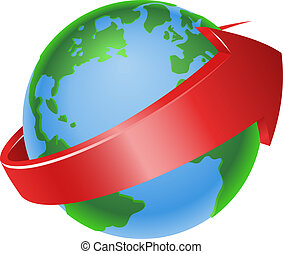 spinning globe arrow icon - Illustration of a spinning globe...