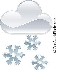 temps, icône, ClipArt, neige, flocons, il