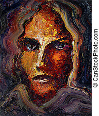 feminine face - oil painting done by me showing a feminine...