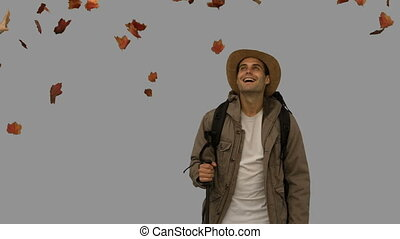 Cheerful man standing under leaves falling on grey screen in...