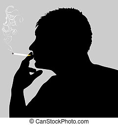 Smoking man - Silhouette of a smoker with a smoking...