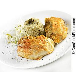 Tilapia, filete, com, arroz