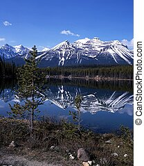 Herbert Lake, Alberta, Canada - View across Herbert Lake,...
