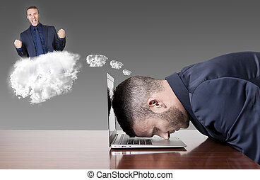 businessman dreaming success with head on laptop