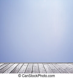 clear blue sky - wood floor and clear blue sky background
