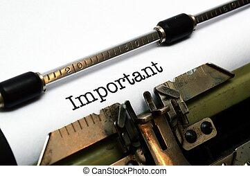 texto, importante, Máquina escrever