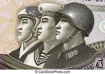 North Korean Armed Forces - Armed Forces on 10 Won 2002...