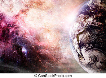 Creation of Earth - Artist rendition of Earth and galaxy at...