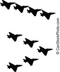 jets in silhouette - fighter jets in formation in silhouette...