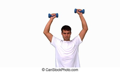Man lifting dumbbells on white screen in slow motion
