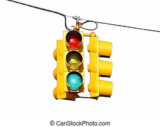 American US street traffic lights - American US yellow...