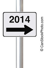 New Year 2014 - A modified one way street sign on the new...