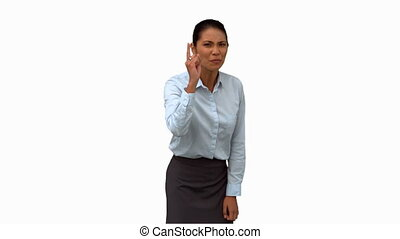Angry businesswoman pointing on white screen in slow motion