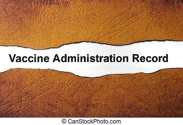 Registro, administración, vacuna
